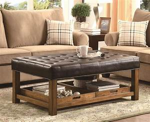 Decor living room design with leather ottoman coffee for Sectional sofa end tables