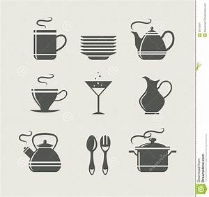 Kitchen Tableware Set Of Icons Stock Vector