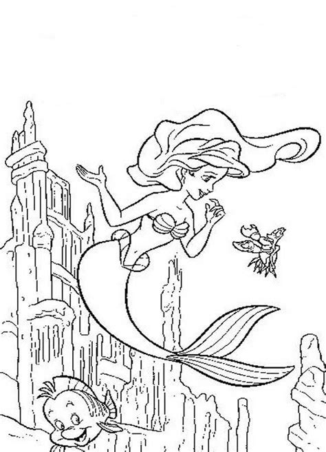 ariel  flounder coloring pages coloring home