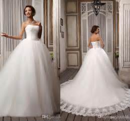 court wedding dress sell popular ribbons strapless white embroidery tulle gown wedding dresses