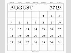 August 2019 Kalender Kostenlose druckbare Vorlage mit