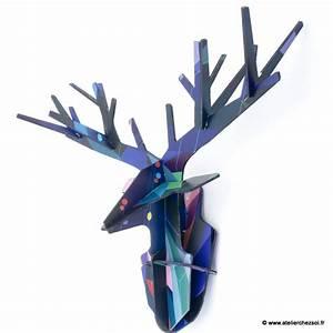 Trophée Tête De Cerf : troph e t te de cerf design en carton imprim bleu de l 39 atelier chez soi ~ Teatrodelosmanantiales.com Idées de Décoration