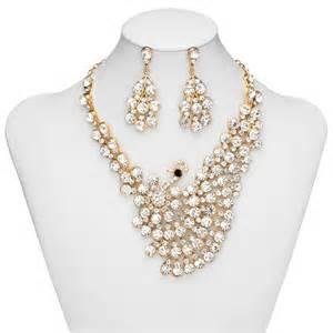 wedding ring necklace peacock wedding jewelry sets rhinestone peacock bridal jewelry gold