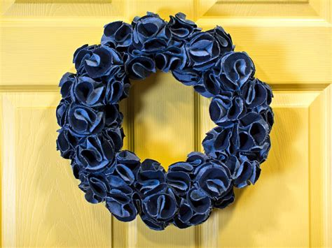 upcycled denim wreath hgtv