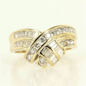 Estate Yellow Gold Round Baguette Diamond Cocktail Ring ...