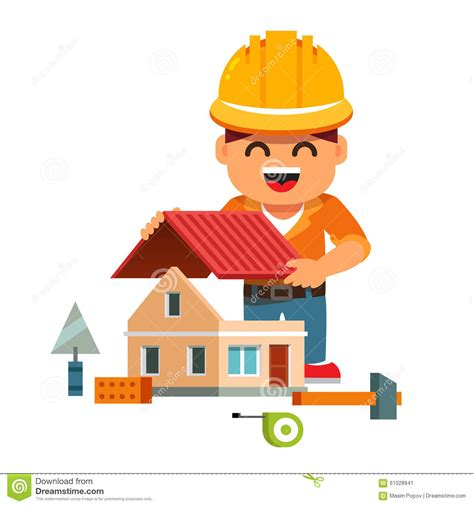home builder free young house builder in hardhat building home stock vector image 61028941