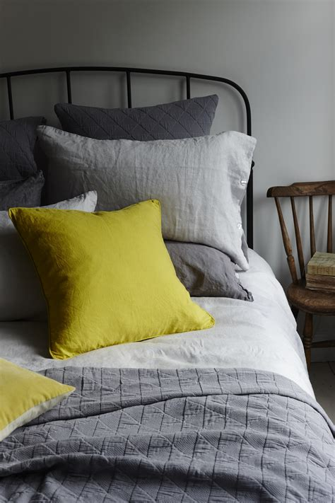 Silver Grey Washed Linen Bedding