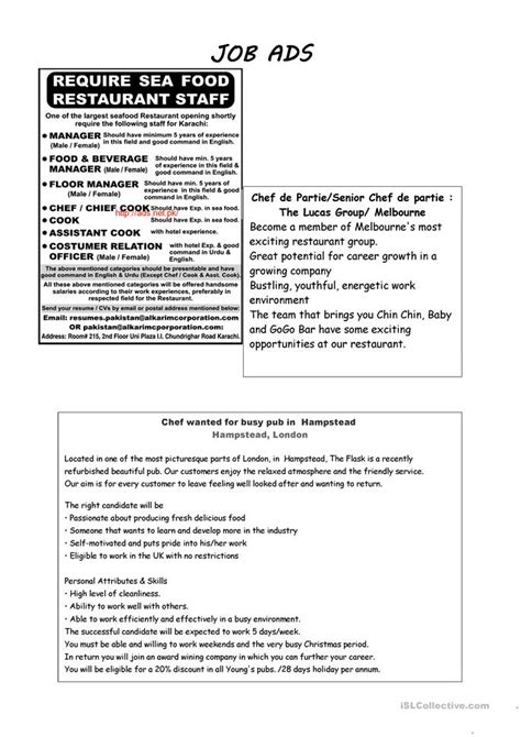 job ads cook worksheet  esl printable worksheets