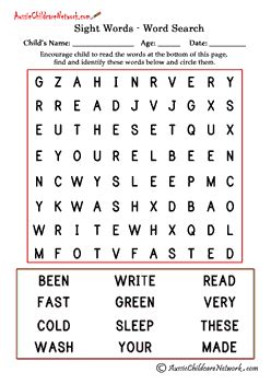 second grade sight word search aussie childcare network