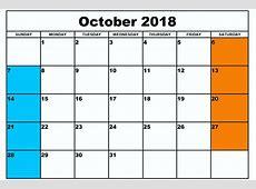 October 2018 Calendar Document