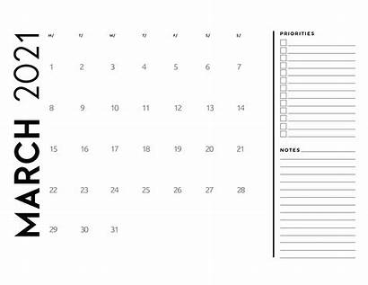 Calendar 2021 Notes Priorities March Pages Individually