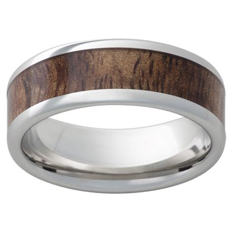 cobalt chrome ring mm  tiger koa wood inlay ccp