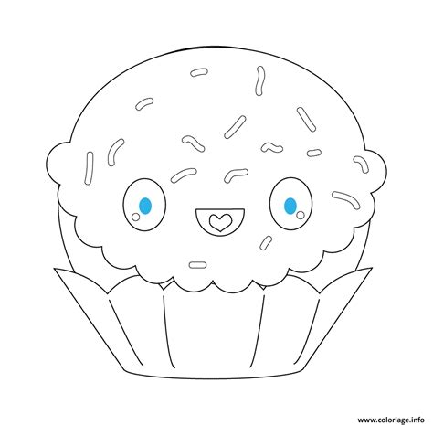 coloriage kawaii cupcake dessin