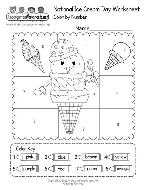printable national ice cream day worksheet
