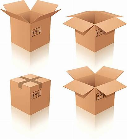 Cardboard Boxes Box Vector Four Illustration Background