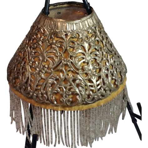 antique l shades with fringe victorian pierced metal l shade with beaded fringe