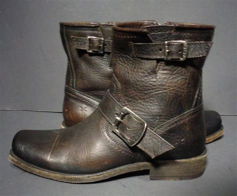 short biker boots frye brown leather short motorcycle boots women 39 s by eagleages