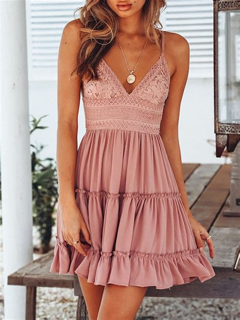 Ruffled Lace Tied Open Back Casual Slip Dress | Summer ...