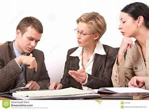Business Meeting 2 2 Woman 1 Man Stock Image Image of