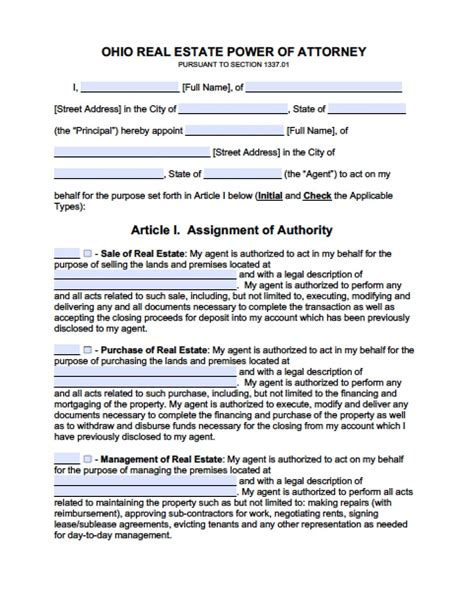 ohio real estate  power  attorney form power