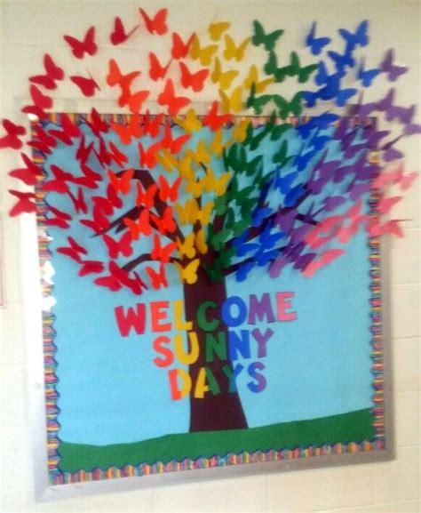 sunny days christian preschool rainbow butterfies welcome days bulletin board 717