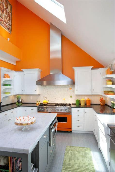 cuisine grise et orange cuisine couleur orange pour un décor moderne et énergisant