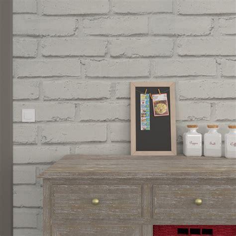 luminaire de chambre papier peint vinyle loft brique coloris gris perle gris
