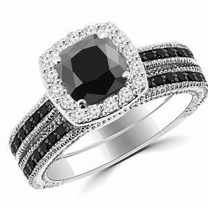 215ct cushion cut black diamond halo engagement ring set With black diamond engagement wedding ring sets