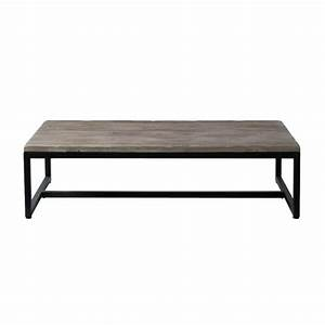 Wood And Metal Industrial Coffee Table W 129cm Long Island
