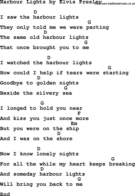 Lights Song by Harbour Lights By Elvis Lyrics And Chords
