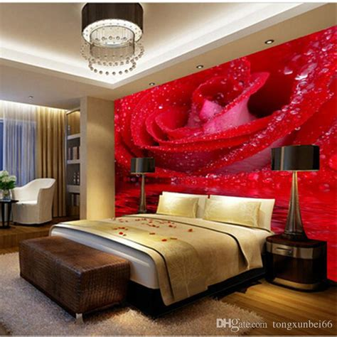 custom  large mural big red rose romantic  warm photo