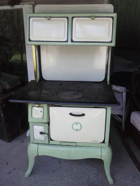 antique wood stove cook green cream porcelain nashville