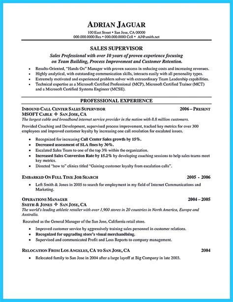 create charming call center supervisor resume  perfect