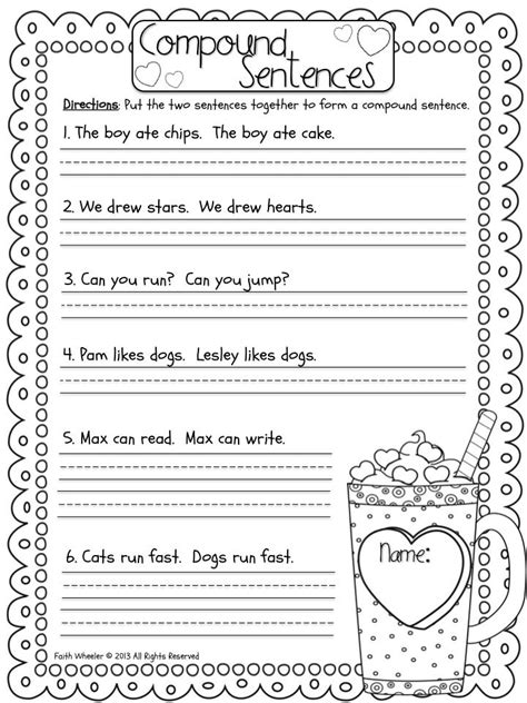 compound sentences freebie firstgradefaculty