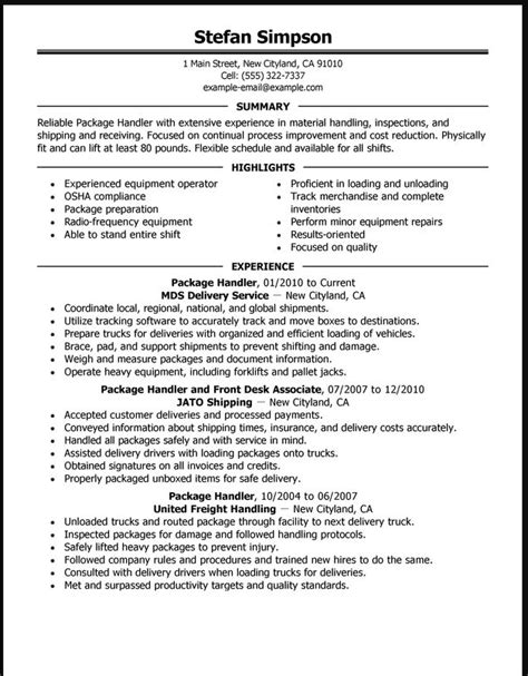Sle Resume For Material Handler by Material Handler Resume Exle Ipasphoto
