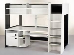 Lit Mezzanine 2 Places Avec Bureau : bureau avec rangement en hauteur meuble bureau noir ~ Melissatoandfro.com Idées de Décoration