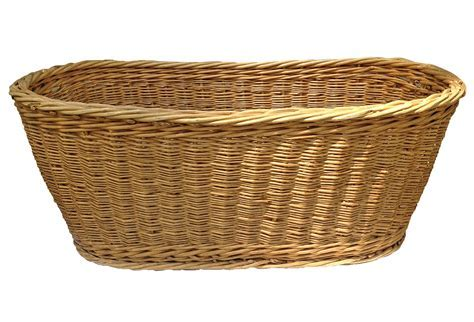 French Oval Woven Wicker Basket   Omero Home