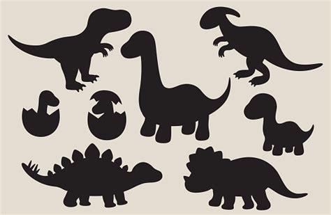 dinosaur silhouette set stock illustration