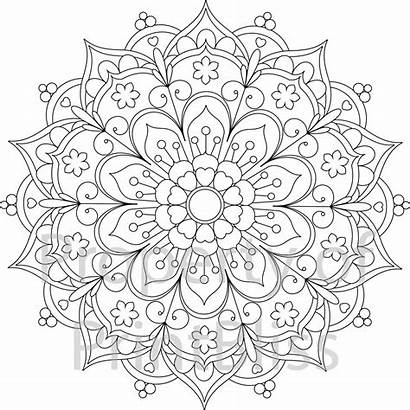 Coloring Mandala Pages Printable Flower Adult Books