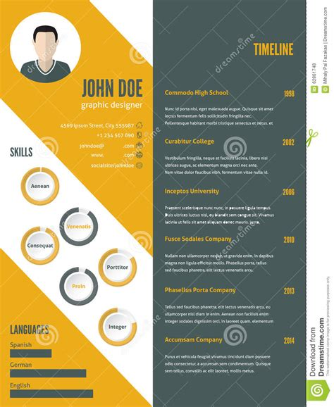 curriculum vitae layout template new modern resume cv template with photo stock vector