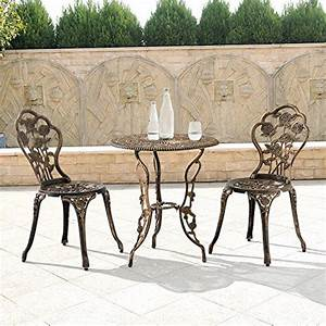 Gartentisch Mit 2 Stühlen : gartentisch bistro tisch 60cm rund bronze mit 2 st hlen franz sische ~ Frokenaadalensverden.com Haus und Dekorationen