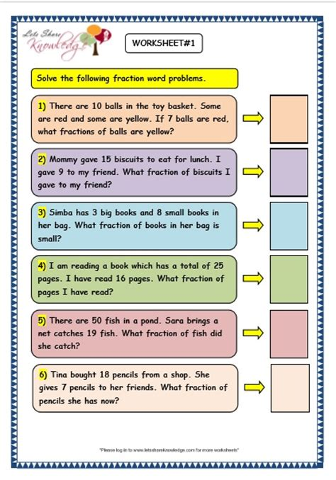 grade 3 maths worksheets 7 9 fraction word problems