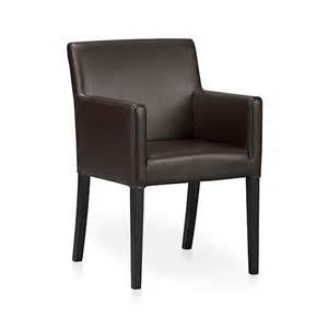 lowe chocolate leather arm chair crate and barrel
