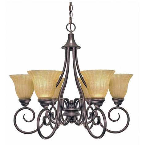glomar 6 light copper bronze chandelier with chagne