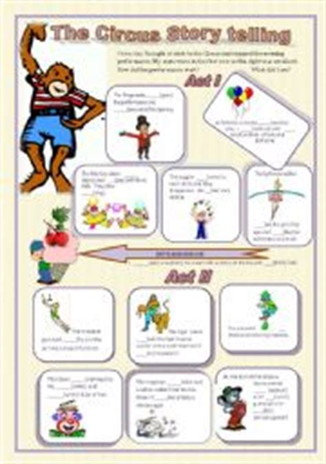 English Worksheet Circus Story Telling