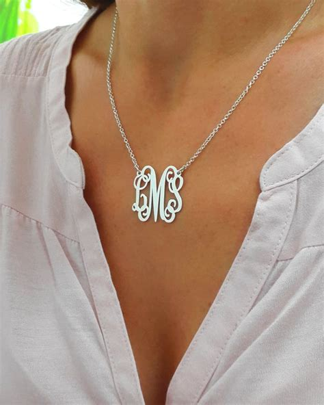 personalized monogram necklace silver monogram necklace