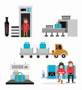 Airport Terminal Service Set B Stock Vector - Illustration ...