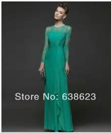 Ae515 Elegant Muslim Emerald Green Chiffon Long Sleeve Evening Dress In Evening Dresses From