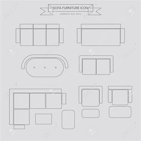 plan canap canapé meubles icône de plan vue de dessus pour le plan