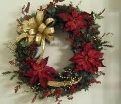 Christmas Wreath Plaid Ribbon Red Poinsettia I would
